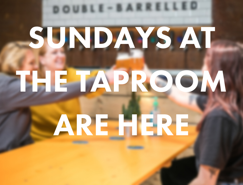 4 people share beers around a table at Double-Barrelled's brewery and Taproom